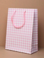 Pink gingham check gift bag (Code 2810)
